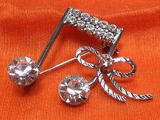 Brooch Rhinestones and Bow Musical Note