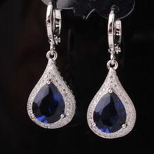 18k white gold filled pear shape blue topaz dangle earrings Creative Jewelry!!