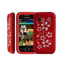 Housse étui coque en silicone pour Samsung Wave 575 s5750 motif fleur couleur ro