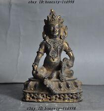 old tibet buddhism bronze gilt Yellow Jambhala mahakala wealth god buddha statue