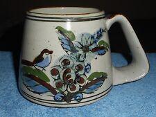 KEN EDWARDS Pottery Mug EL PALOMAR Mexico Blue Bird Butterfly Wide Handle Large