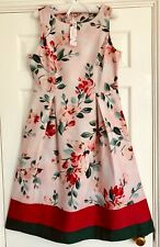 CATH KIDSTON PINK PAINTBOX FLOWERS PL02 COTTON SATEEN DRESS - 12 - RRP £80 BNWT!