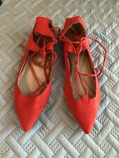 0e6678ee959d Top Shop Fickle Pointy Toe Ghillie Flat Red 41/8