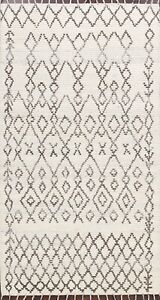Geometric Natural Dye Ivory Moroccan Oriental Area Rug Hand-knotted Wool 5x8 ft