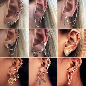 Multi pack set cuff earrings Gold Silver huggies sun lightening hoop earring set