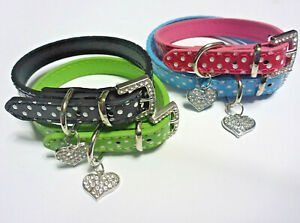 XS 30 cm Dog Collar Cat Collar White Polka Dot Leather Rhinestone Heart & Buckle