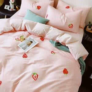 Strawberry Pink Bed Set Duvet Quilt Cover+Ded Skirt+Pillow Case Four-Piece New