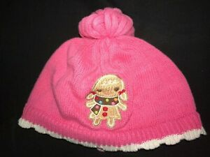 GYMBOREE pink knit baby girls WINTER HAT 12/24 month GINGERBREAD COOKIE cute @@