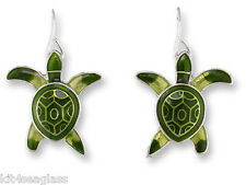 Zarah Zarlite HATCHLING BABY TURTLE Earrings Silver Plated Dangle NEW - Box