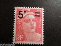 FRANCE - 1949, timbre 827, type MARIANNE GANDON surchargé, neuf**, MNH STAMP