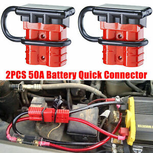2x 50A 12V Car Battery Quick Connect Disconnect Power Wire Cable Connector Plug