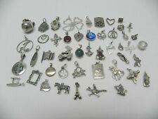 Vintage Sterling Silver CHARM~PENDANT LOT Some Gemstones 120 Grams Saves Pets