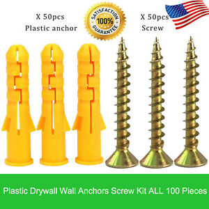 100X Plastic Self Drilling Ribbed Drywall and Wall Anchors with Screws Kit