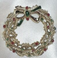 "Vintage Holiday 1 1/2"" Gerry's Silver Tone Enamel Christmas Wreath Pin Brooch"