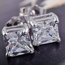 1Pair Luxury Women Men Solid Diamond Crystal Square Ear Stud Earrings  !