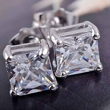 New Luxury Women&Men Solid Diamond Crystal Square Ear Stud Earrings Gifts