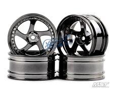 MST Silver black TMB RC 1/10 Drift Car Wheels offset 11 (4 PCS) 102046SBK New
