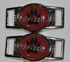 "Grizzly Bear Paw ""Grizz"" Oval shoelace charm pair (2) shoes/paracord"