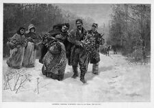 NEGROES GATHERING CHRISTMAS EVERGREENS HORSE SNOW SLED WOODS HARPER'S WEEKLY