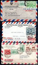 PERU US 1950's THREE AIR MAIL COVERS LIMA TO CHICAGO & TO WEST BEND,WIS. ATTRACT