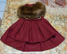 New listing Wool Faux Fur-TrimmedDog Harness Coat By Doggie Design- Burgundy (Small)