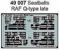 Eduard 1/48 Raf Q Type-fin des ceintures de sécurité pré-peint en couleur! # 49007