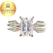 GIA CERTIFIED DIAMOND EMERALD SHAPE SOLITAIRE GROOVED DIAMOND ENGAGEMENT RING
