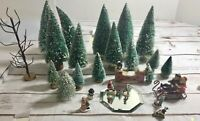 Assorted Mixed Lot Dollhouse Railroad Miniatures Christmas Tree People Pond Sled