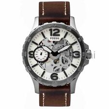 Fossil Original ME3128 Men's Nate Hand-Wound Mechanical Brown Leather Watch 50mm