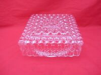 """VTG 8"""" CEILING LIGHT FIXTURE SQUARE MCM TEXTURED CLEAR GLASS GLOBE SHADE"""
