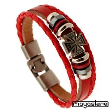 Leather Surfer Red Bracelet Iron Cross Red Bracelet Iron Cross Red