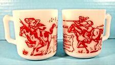 Davy Crockett Indian Fighter 2 Children's Mugs Hazel Atlas Red & White