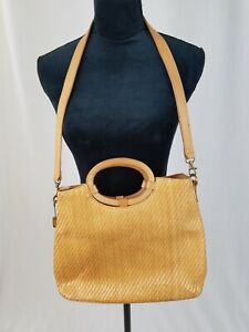 Fossil wood handled wicker woven shoulder bag 75082 leather trim