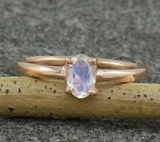 Rainbow Moonstone Sterling Silver Rose Gold Engagement Statement Ring US 3 to 15