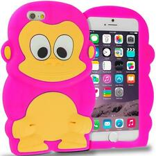 "CASE COVER 3D SILICONE RUBBER IPHONE 6 6S 4.7"" HOT PINK MONKEY ANIMALS TOYS"