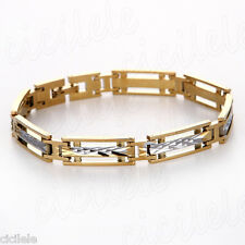 8mm Men Cool Stainless Steel Gold Silver Bangle Chain Biker Punk Bracelet 7.48""