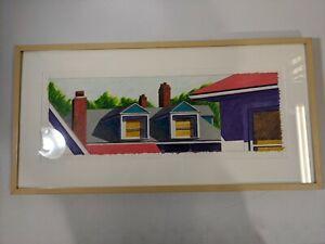 Gordon Neal Framed Artwork Original Colored pencil on paper Rooftop Chimney Deco