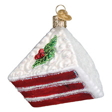 Red Velvet Cake Old World Christmas Tree Ornament NWT mouth blown glass