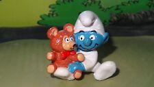 Smurfs Baby Smurf with Teddy Bear 20205 Rare Vintage Dark Skin Display Figurine