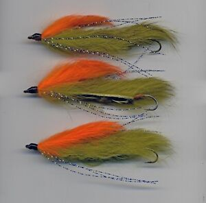 Trout Flies: Snake: Flies Dawson's Olive Flapper size 8  x3  UK Tied (code 290b)
