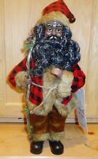 "12"" African American Woodsman Santa Figurine w/Red/Black Plaid Coat & Tan Fur"