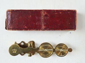 Antique Brass Sovereign & Half Sovereign Balance Pocket Scale Original Box