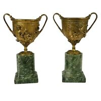 Antique Compotes, European Gilt Bronze, Two Marble Mounted, Early 1800's!