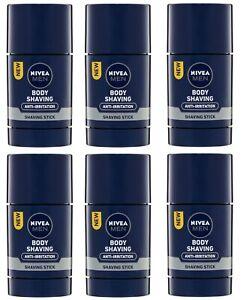 6 x NIVEA MEN 75mL ANTI-IRRITATION BODY SHAVING STICK 100% Brand New