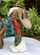 Miniature Dollhouse FAIRY GARDEN ~ Mini CHRISTMAS Glitter Snow Mailbox w Gifts