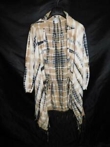 Soft Surroundings S Brown Gray Antik Batik Cardigan Sweater Fringe Tunic Open sm