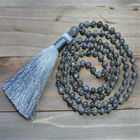 6mm Labradorite 108 Beads mala knot Necklace Tibetan Spirituality Meditation