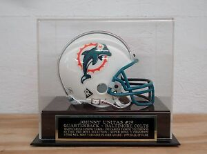 Johnny Unitas Football Mini Helmet Display Case With A Baltimore Colts Nameplate