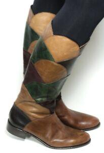 Damenstiefel Vintage Stiefel Leder Boots Flats Geometrisch Zipper Leone 40