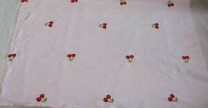 Fabric Vintage Mid Century Modern Cotton Red Cherry Embroidery Yardage 4Y